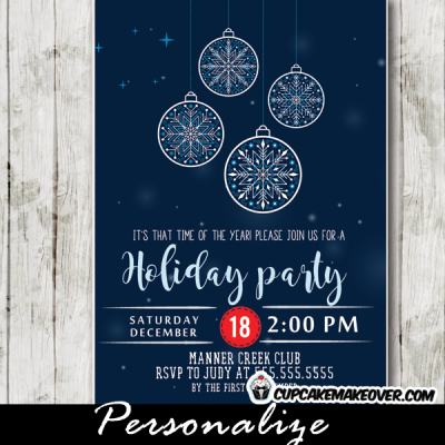 corporate holiday party invitations elegant ornaments blue bokeh
