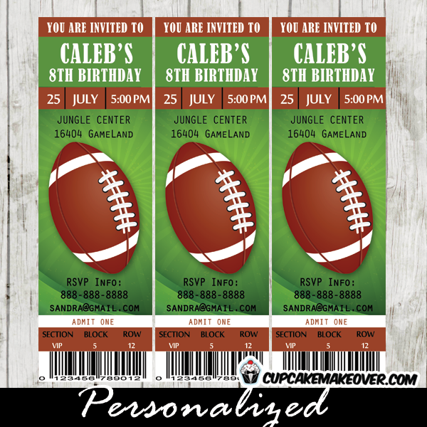 Football Ticket Party Invitations Brown And Green Sports Birthday Ideas