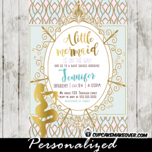 little mermaid baby shower invitations gold foil expectant mother to be aqua blue and pink royal gold frame