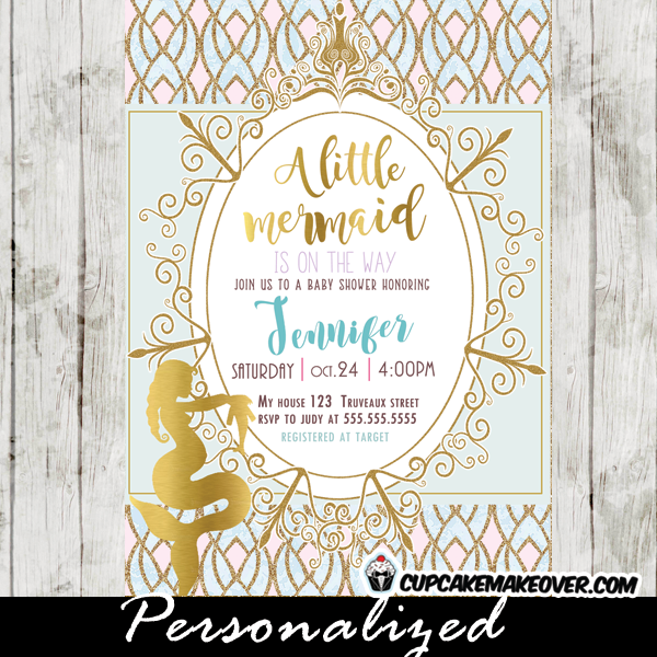 Little Mermaid Baby Shower Invitations Gold Foil Expectant Mother To Be  Aqua Blue And Pink Royal