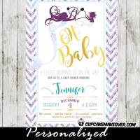 mermaid baby shower invites mother daughter siren purple and teal chevron