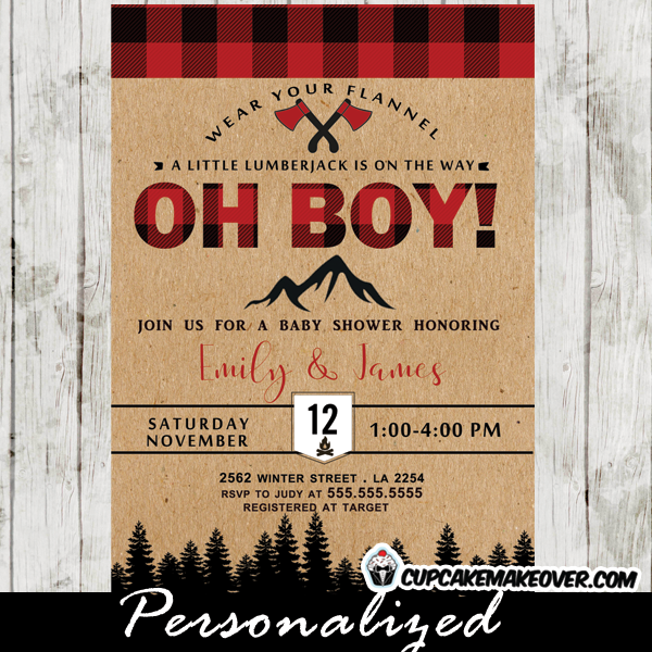 lumber jack baby shower invitations axe buffalo plaid wilderness boys