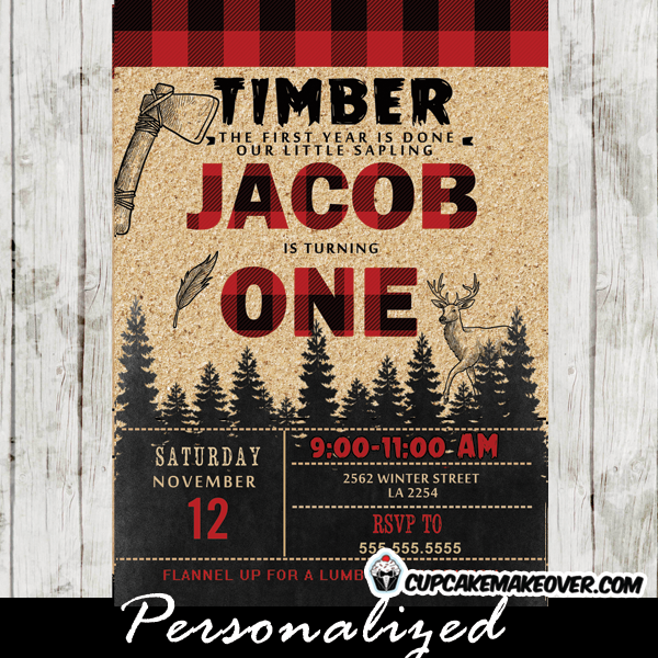 lumberjack first birthday invitations deer woodland buffalo plaid wilderness