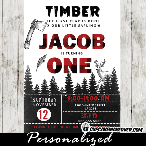lumberjack invitations deer woodland buffalo plaid wilderness