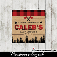 buffalo plaid square lumberjack favor labels and tags
