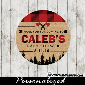 lumberjack thank you tags for baby shower birthday party cupcake toppers