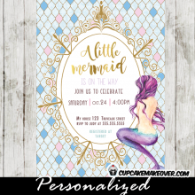little mermaid baby shower invitations aqua blue and pink gold royal frame