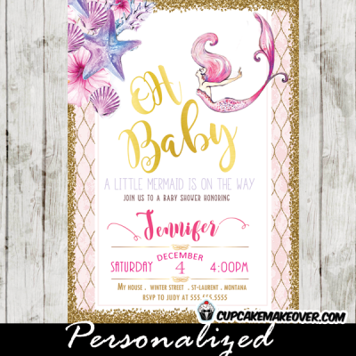 little mermaid baby shower invitations pink and purple gold glitter starfish clam shell ocean