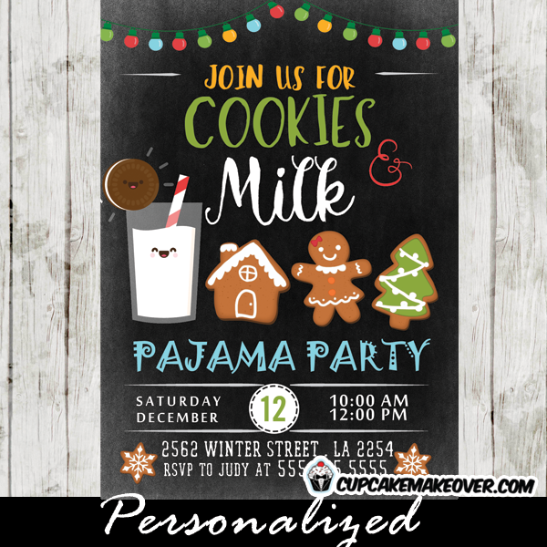 Milk And Cookies Pajama Party Invitations Holiday Cookie