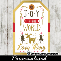 christmas gift tags printable joy to the world winter scene woodland