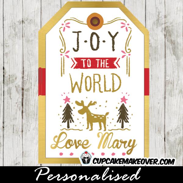 christmas gift tags printable joy to the world winter scene woodland