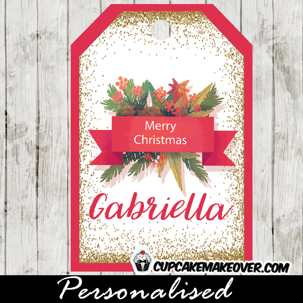 hanging gift tags merry christmas red gold winter wreath labels