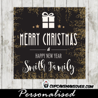 white holiday present gold glitter Christmas gift tags printable