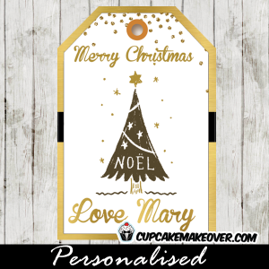 printable holiday hanging gift tags christmas tree gold foil