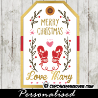 merry christmas hanging gift tags red mittens pink heart gold foil
