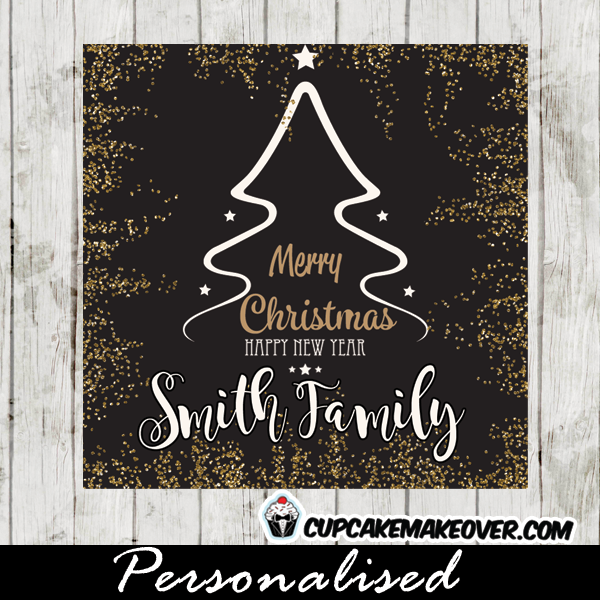 black white gold holiday tree Christmas gift tags printable hand drawn