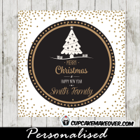 printable holiday gift tags black and white christmas tree gold glitter present labels