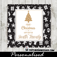 christmas gift tags gold foil tree holiday pattern