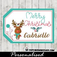 teal blue printable christmas gift tags cute little reindeer