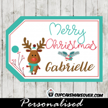 teal blue printable christmas gift tags cute little reindeer
