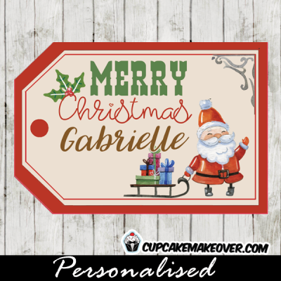 printable christmas tags santa clause sled full presents