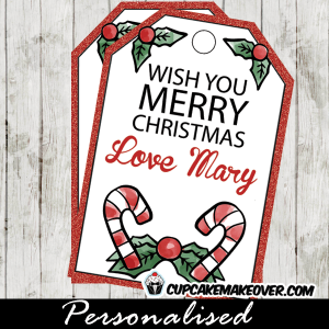 printable christmas gift tags candy cane mistle toe red glitter