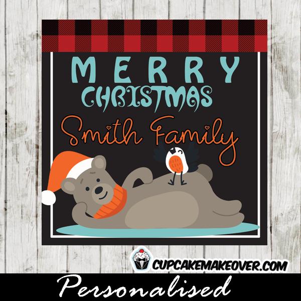 funny christmas gift tags woodland bear