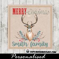 teal blue buck deer antlers christmas gift tags printable