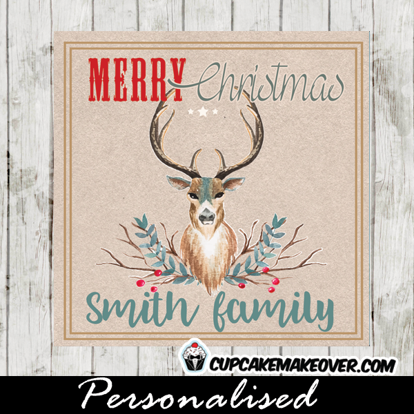 teal blue buck deer antlers christmas gift tags printable