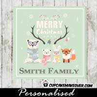fun printable christmas tags light blue hipster woodland forest animals