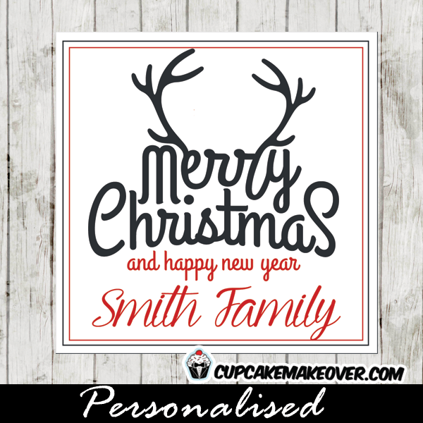 merry christmas gift tags holiday labels red and black