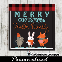 printable christmas tags cute woodland forest animals