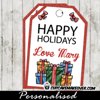 printable holiday gift tags hand drawn presents red glitter