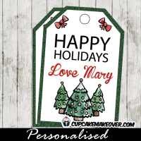printable holiday gift tags hand drawn trees greem glitter