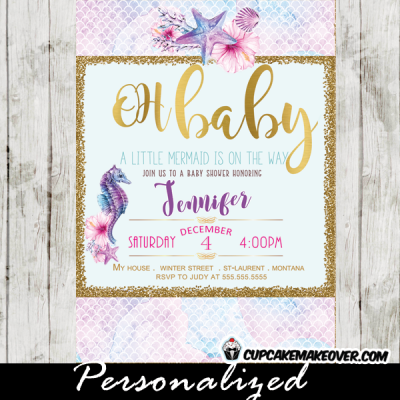 under the sea baby shower invitations seahorse ocean clam shell fish scale pattern pink purple gold