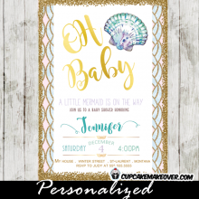 under the sea baby shower invitations shell clam teal and purple gold glitter beach blue pink little mermaid