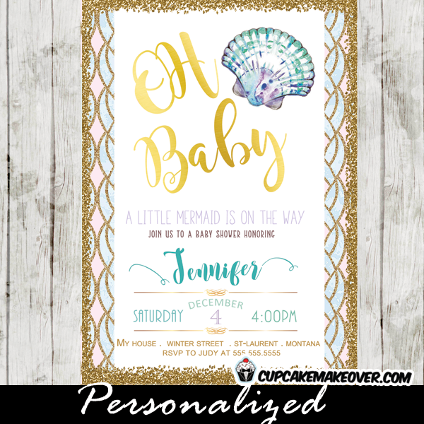 Under the sea baby shower invitations teal and purple shell under the sea baby shower invitations shell clam teal and purple gold glitter beach blue pink filmwisefo