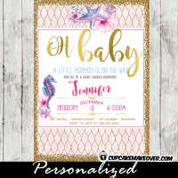 under the sea baby shower invitations pink purple blue gold seahorse clam starfish ocean arrangement
