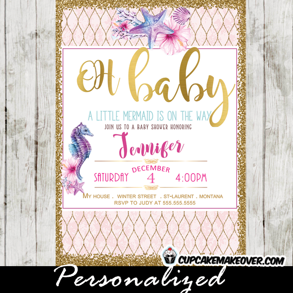 Under the sea baby shower invitations watercolor seahorse pink and under the sea baby shower invitations pink purple blue gold seahorse clam starfish ocean arrangement filmwisefo