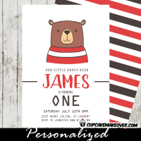 bear party invitations first birthday ideas boys woodland