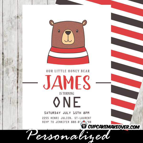 bear birthday invitations hand drawn cub red black white