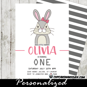 girls woodland bunny birthday invitations pink gray cute funny