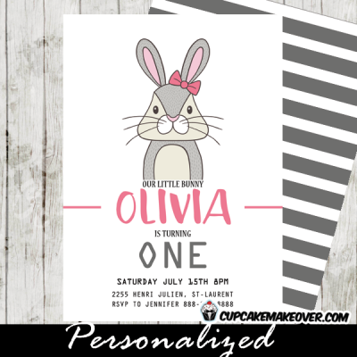 girls woodland bunny birthday invitations pink gray cute funny