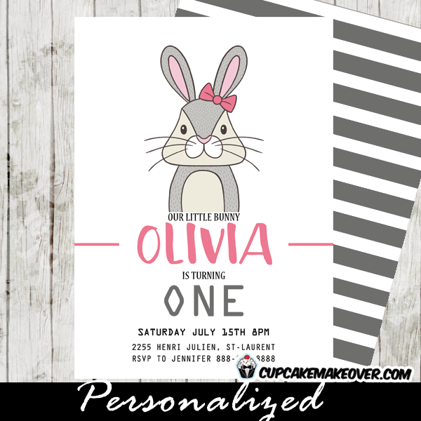 Bunny Birthday Invitations Girls Pink Gray Rabbit Cupcakemakeover