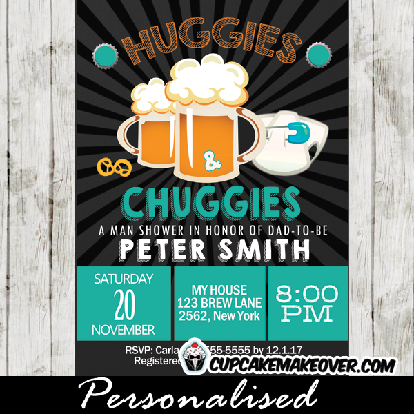 Huggies and Chuggies Invitations Blue Diapers and Beer Baby