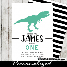 dinosaur birthday invitations first theme party ideas t-rex