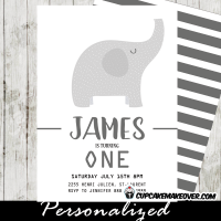 elephant birthday invitations party invite first 1st grey gray white