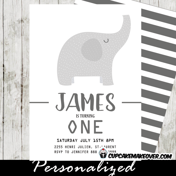 Elephant Birthday Invitations Party Invite First 1st Grey Gray White