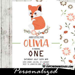 fox birthday invitations fall floral vine woodland orange party