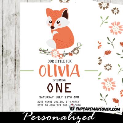 fox birthday invitations fall floral vine woodland orange party